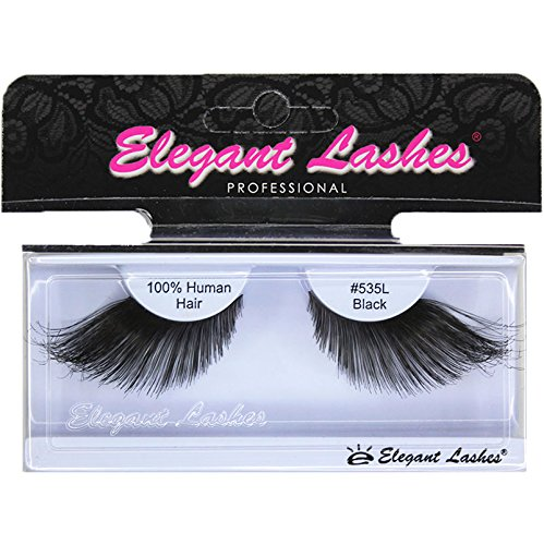 [Elegant Lashes #535L Thick Long Black Human Hair False Eyelashes for Drag Queen Halloween Dance] (Most Extreme Halloween Costumes)