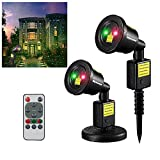 Christmas laser lights red&green with remote Spotlight,Halloween Dynamic Landscape Projector Light Lamp, Party Light for Holiday, Garden,House Indoor/Outdoor Decor–Waterproof
