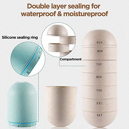 Zannaki Grain Fiber Portable Weekly Pill Organizer, BPA Free Travel Camping 7 Day Pill Box Case with Unique Water and Moisture Proof Design to Hold Vitamins, Cod Liver Oil, Supplements and Medication by Zannaki (Image #2)
