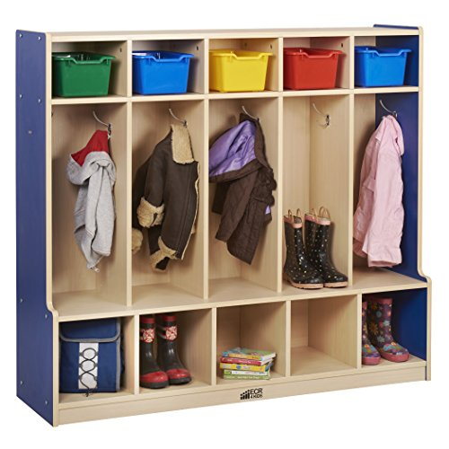 ECR4Kids Colorful Essentials 5-Section Coat Locker with Cubbies and Bench, Blue