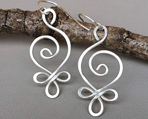 Sterling Silver Celtic Budding Spiral Dangle Earrings Handmade in Oregon by Nicholas and Felice ()
