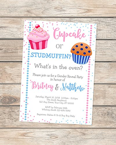 Amazon Com Cupcake Or Studmuffin Gender Reveal Invitations Pink