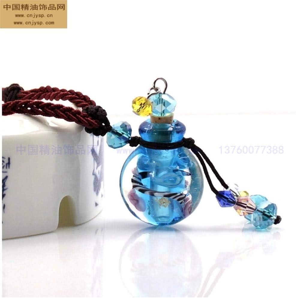 PicZhiwenture Collares Colgantes Cadena de suéter Cadena clavicular Joyas Cristal Botella de Aceite Esencial Collar Colgante-Azul Cielo