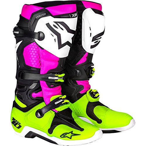 Alpinestars LE 'Radiant' Tech 10 Men's Off-Road Motorcycle Boots - Black/White/Pink / 10 by Alpinestars