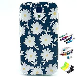 White Flowers Pattern with Stylus ,Anti-Dust Plug and Stand TPU Soft Case for Samsung S4 Mini I9190