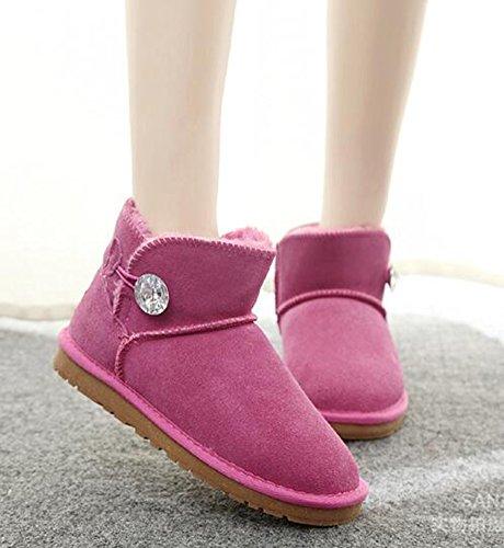 Chfso Donna Alla Moda Solido Completamente Foderato Singolo Caviglia Abbottonatura Alta Su Caldi Stivali Da Neve Invernali Rosa Rossa