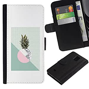 All Phone Most Case / Oferta Especial Cáscara Funda de cuero Monedero Cubierta de proteccion Caso / Wallet Case for Samsung Galaxy S5 Mini, SM-G800 // Pineapple Moon Weed Green White