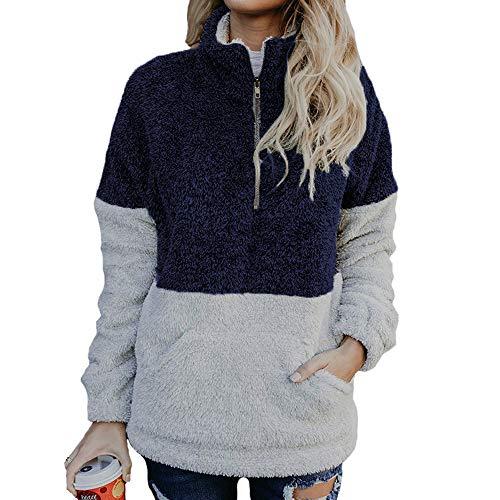 Und Pullover Reißverschluss Damen Hohem Details Kragen