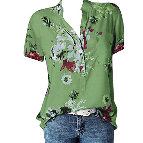 POQOQ Blouse Women Printing Pocket Plus Size Short Sleeve Blouse Easy Top Shirt(Green,L)]()