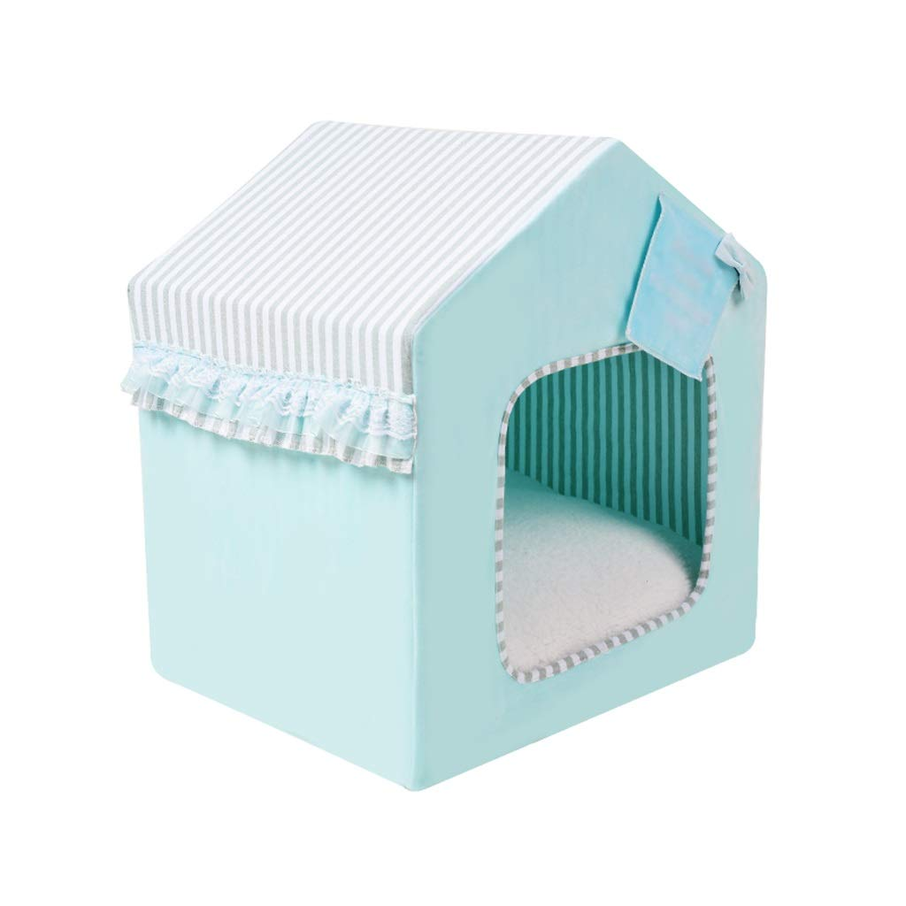 Green MediumKennel Removable and Washable Closed Dog House Cat Litter Small Dog Pet Nest Winter Three colors Optional (color   Green, Size   M)