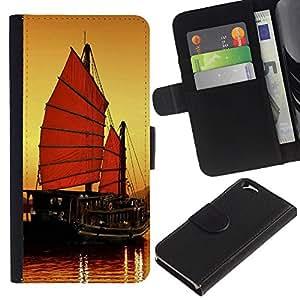 All Phone Most Case / Oferta Especial Cáscara Funda de cuero Monedero Cubierta de proteccion Caso / Wallet Case for Apple Iphone 6 // Sunset Ship Beautiful Nature 7