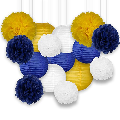 Just Artifacts Decorative Paper Party Pack (15pcs) Paper Lanterns and Pom Pom Balls - Yellow/White/Blues - Paper Lanterns and Décor for Birthday Parties, Baby Showers, Weddings and Life Celebrations!