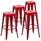 Backless Industrial Design Metal Iron Stools 30″ Set of 4 Duhome WY-665D Metal Bar Stool (Red) For Sale