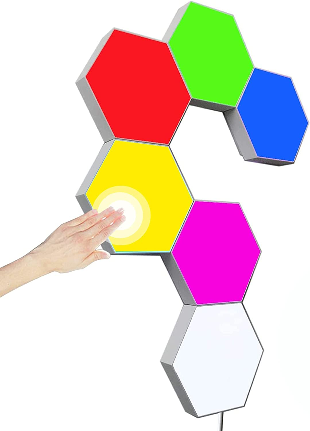 Hexagon Wall Lights Touch Control Gaming Lights, DIY RGB Creative Geometry Led Lights Panel with AC adapter for Gaming Setup & Home Office Hotel Bar Decoration,Gifts(6 colors)
