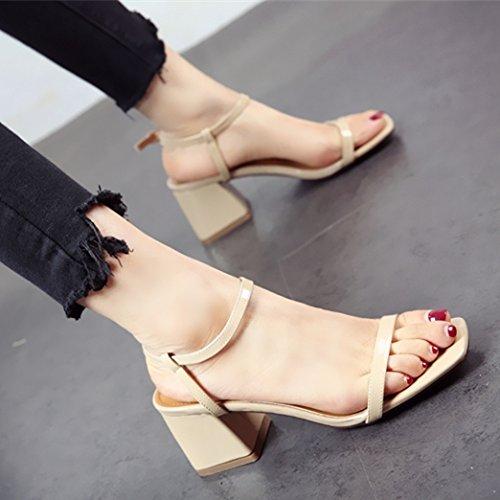 YMFIE La Elegancia de Moda Dedos Oriente Tacones Altos Tacones señoras Verano Sandalias Calzado de Playa. a