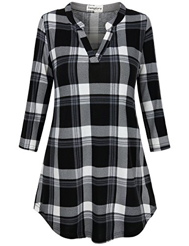 SUNGLORY Women Tops and Blouse Summer, Women's Casual 3/4 Cuffed Plaid Shirt - Certificates Gift Ect