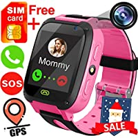"""Kids Smart Watch Free SIM Card Included- 1.44"""" GPS Tracker Wrist Smart Watch Phone for Boys Girls with Camera Pedometer Smartwatch Bracelet Thanksgiving Christmas Birthday Gifts (Pink)"""