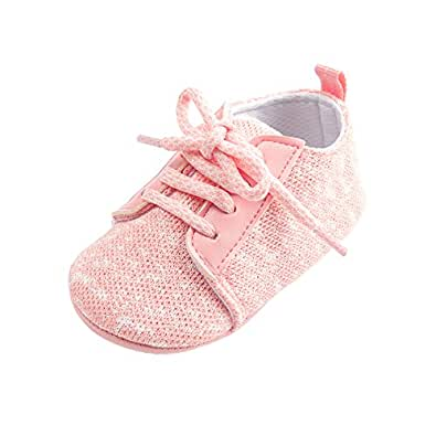 Kuner Baby Boys and Girls Cotton Rubber sloe Outdoor Sneaker First Walkers Shoes (11cm(0-6months), Pink)