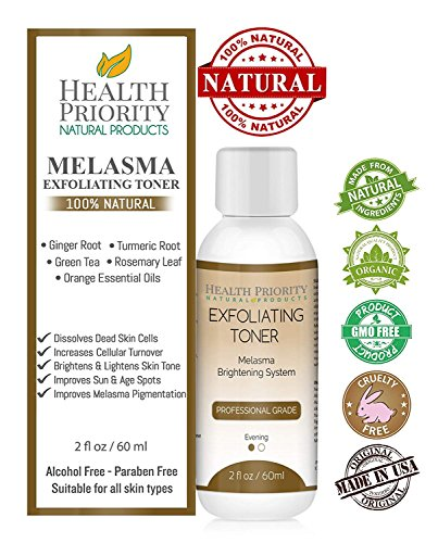 Melasma Treatment for Face - 100% Natural & Organic. Best Toner for Lightening & Dark Spot Corrector - Hydroquinone & Kojic Acid Free. Kit, Serum & Cream to Fade & Remove Pigment Problems. No peel!