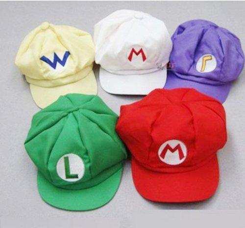 Mario Luigi Wario Waluigi Costumes (Set of 5 [super gorgeous! Cosplay Hat Cap costume] Super Mario Luigi Wario Waluigi wind (japan import) by nobrand)