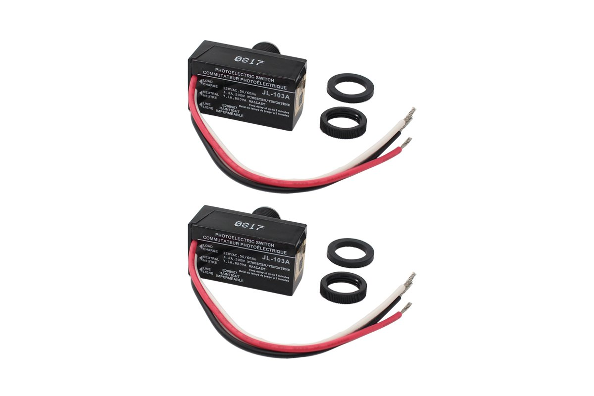 Pack of 2 Dusk to Dawn Outdoor Hard-Wired Post Eye Electric Resistor Photocell Light Control Sensor Button Switch LED HID CFL JL-103A