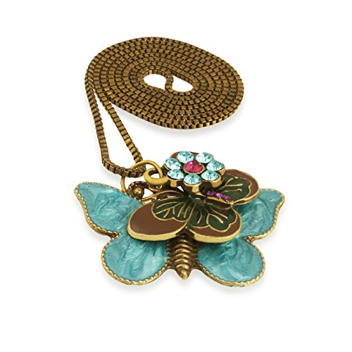 Fasherati Antique Gold Blue Butterfly Pendant for Girls