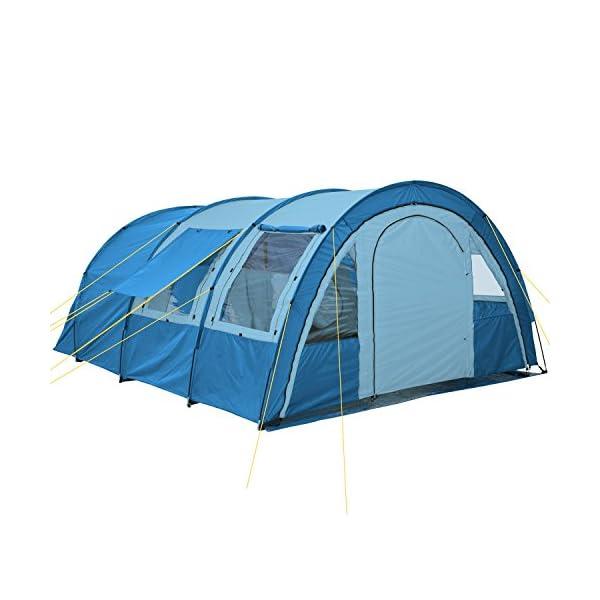 51mX1hM1O6L CampFeuer Tunnelzelt Multi Zelt für 4 Personen | riesiger Vorraum, 5000 mm Wassersäule | mit Bodenplane und versetzbarer…