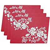 4pc Large Size Silicone Gel Place-mat For Great Dinning Experience, Heat Resistance and Water Proof, Non Slippery, High Level of Insulation for Pots and Pans - Red