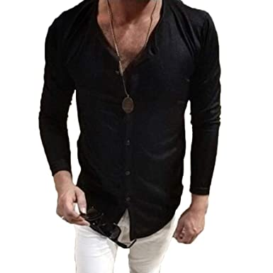 7e763251ceb Mens Slim Fit Long Sleeve T-Shirts Spring Autumn Casual Vintage Muscle Tee Button  Down
