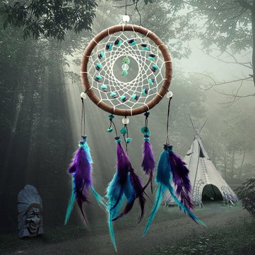 Dream Catcher Feather Leather Dreamcatcher Hanging Decoration Ornament Gift Long 43Cm^.