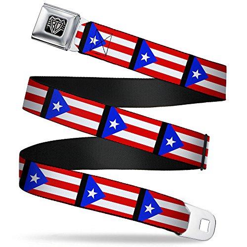 Buckle-Down Unisex-Adult's Seatbelt Belt Puerto Rico Regular, Flag Repeat/Black, 1.5