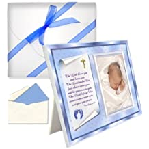 """Baptism Christening Gifts Baby Blessing Picture Frame-Boy-""""Numbers 6:24-26"""""""