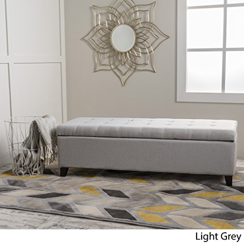 Christopher Knight Home 299391 Living Santa Rosa Light Grey Fabric Storage Ottoman, (Bed Storage End)