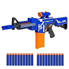 Soldier, grab your foam dart shooter and join the fight! Conquer the battlefield with soft dart bullets and a cool, colorful semi-automatic design. Made with a full gear frame and removable attachments, this blaster is easy and fun to use. Le...