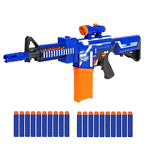 - Best Choice Products Kids Soft Foam Semi-Automatic Dart Blaster Shooter Toy Gun w/ Load Cartridge, Sight Attachment, Long Distance Range, 20 Darts - Multicolor