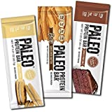 Paleo Thin® Protein Bars 20g Egg White Protein (Three Flavor Variety) (Gluten-Free w/5 Net Carbs) From 150 Cal 12 Bars