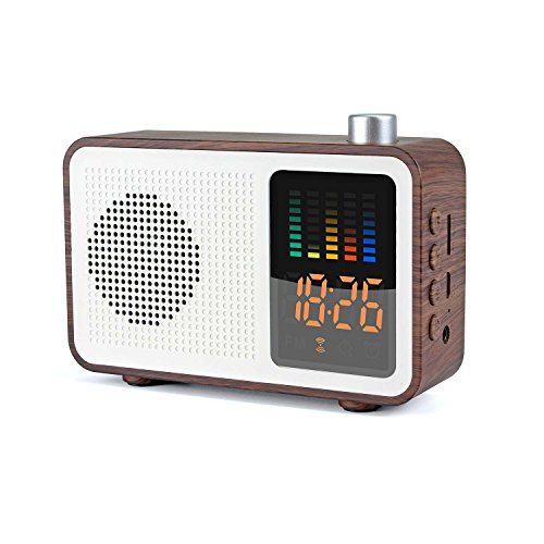 Miaboo Portable Bluetooth Speaker, Wooden Retro Stereo Wireless Speakers, FM Radio Digital Alarm Clock with TF Card/AUX-in USB Charging Supported(Walnut Wood)