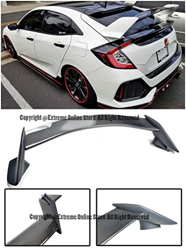 Rear Lip Type - Extreme Online Store Type R Style Carbon Fiber Rear Trunk Lip Wing Spoiler For 16-Up Honda Civic 5Dr Hatchback 2016 2017 2018 16 17 18 Type-R 10th Gen