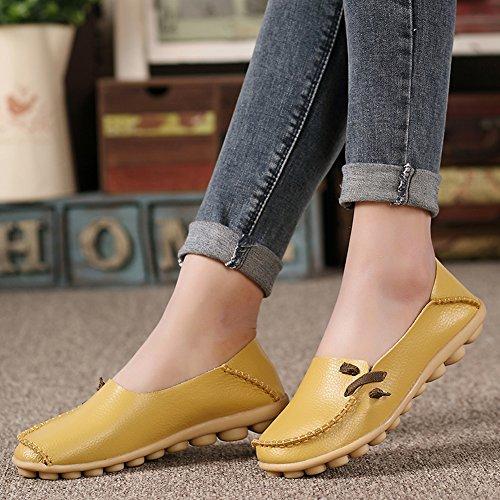 Lucksender Damen Weichleder Comfort Driving Loafers Schuhe Gelb