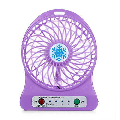 Rechargeable Portable LED Light Fan Air Cooler Mini Personal USB Battery Fan