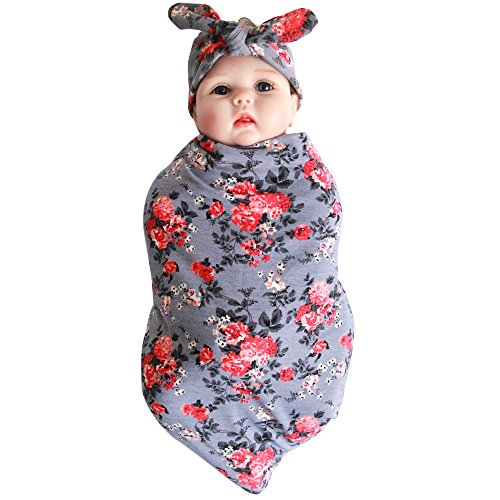 Price comparison product image Quest Sweet Newborn Baby Swaddle Blanket Headband Value Set, Receiving Blankets