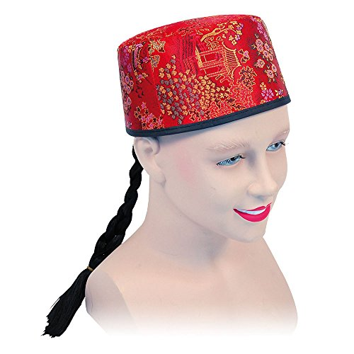 Bristol Novelty BH442 Chinese Mandarin Hat Red Fabric and Plait, One Size]()