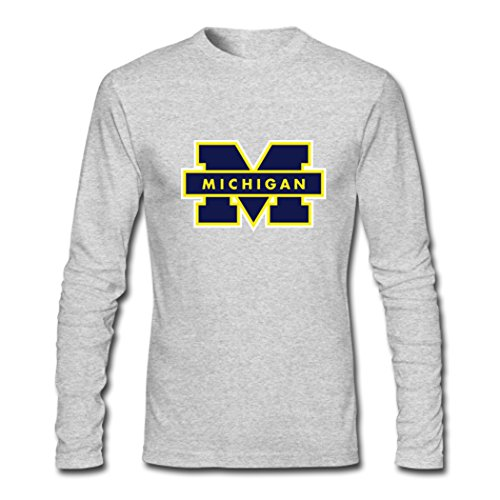 Custom Men Michigan Wolverines Logo Long Sleeve Tees Shirt Medium Grey
