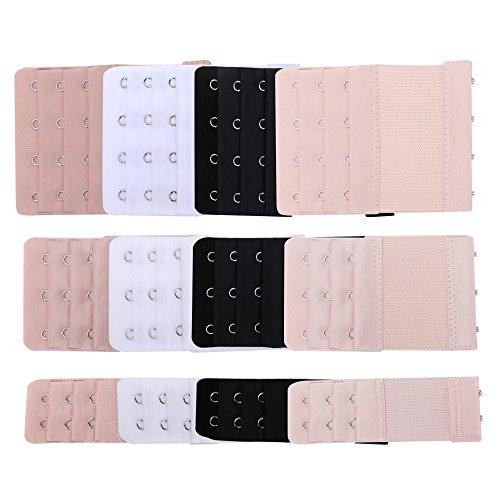 Senkary 12 Pcs Bra Extenders 4 Hooks/3 Hooks/2 Hooks Bra Hook Extenders Elastic Bra Strap Extension, 4 Colors