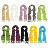 TrendsBlue Elegant Solid Color Viscose Fringe Scarf - Different Colors Available