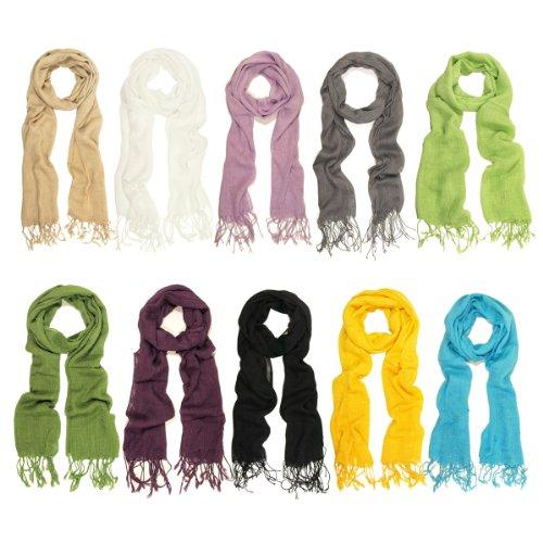 TrendsBlue Elegant Solid Color Viscose Fringe Scarf - Different Colors Available