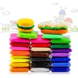 24 PCS iFergoo Colorful Kids Ultra light Moldeling Clay Magic Air Dry Clay Artist Studio Toy, 24 Colors No-Toxic Modeling Clay & Dough, Creative Art DIY Crafts Total 485g (17oz)