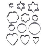 12 Pieces Metal Cookie Cutters, 3 Stars Shape, 3 Flowers Shape, 3 Round Shape, 3 Hearts Shape (Assorted Sizes)