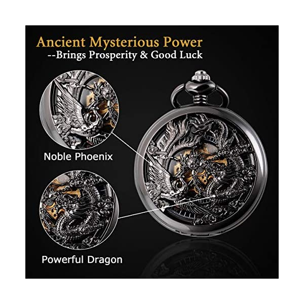 SIBOSUN Mechanical Pocket Watches Mens, Lucky Phoenix and Dragon, Skeleton Pocket Watch, Black Antique Roman Numerals with Gift Box