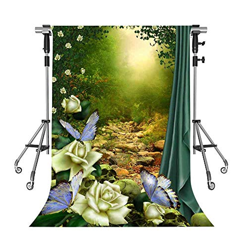 Magic Forest Backdrop Butterfly Flower Green Photography Backdrop MEETSIOY 10X7ft Themed Party Photo Booth YouTube Backdrop LFMT434 (Forest Large Flowers)